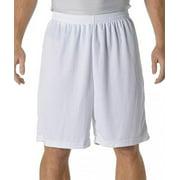 "A4 9"" Power Mesh Shorts, White, 3XLarge"