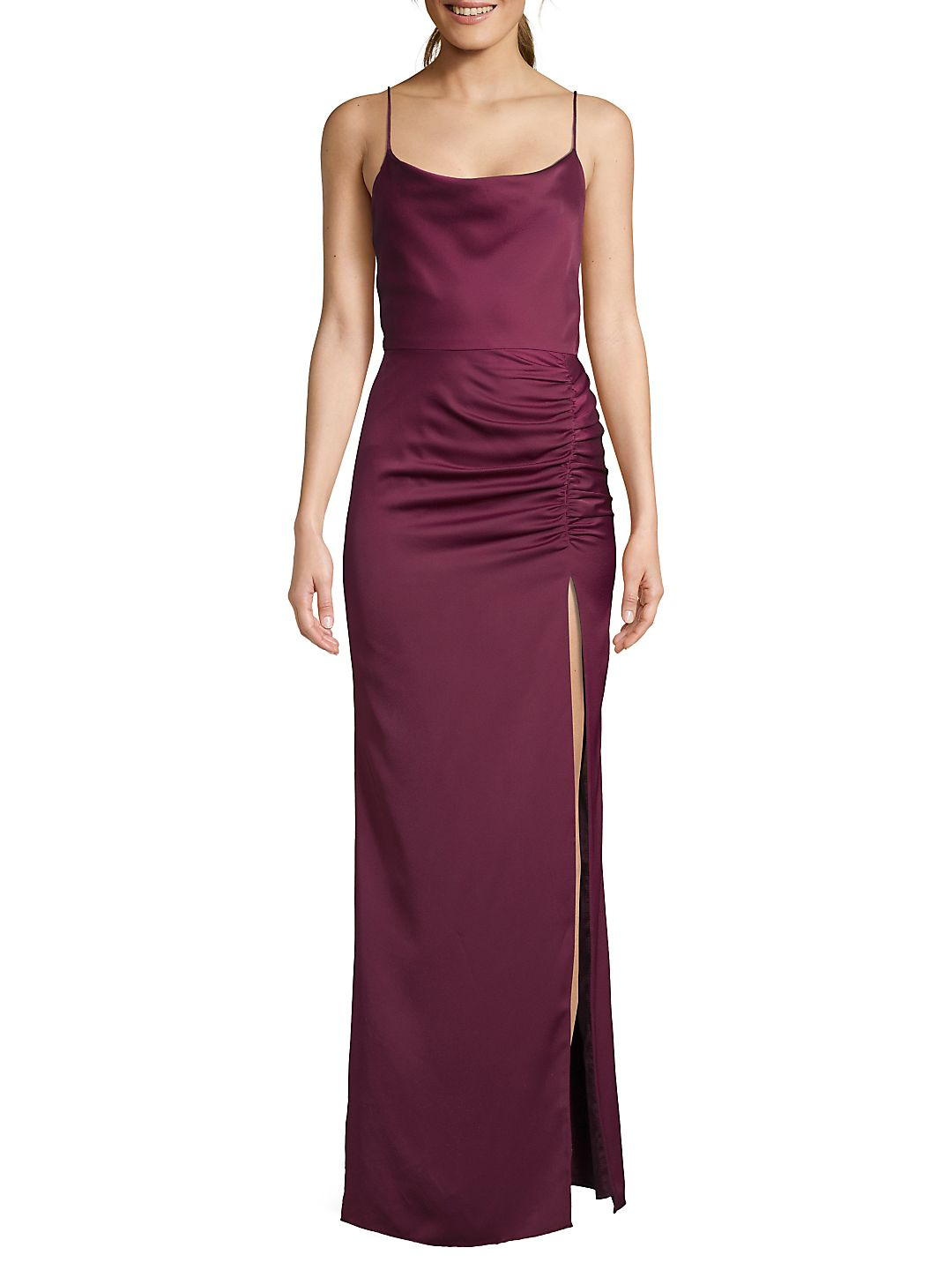 Ruched Side Slit Satin Gown