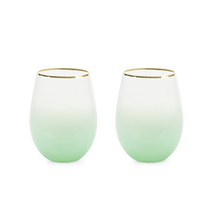 Green Wine Glasses (Blush Stemless wine and cocktail Saguaro (green) Set of)