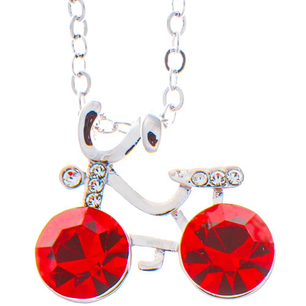 "Rhodium Plated Necklace with Bicycle Design with a 16"" Extendable Chain and High Quality Red Crystals by Matashi"