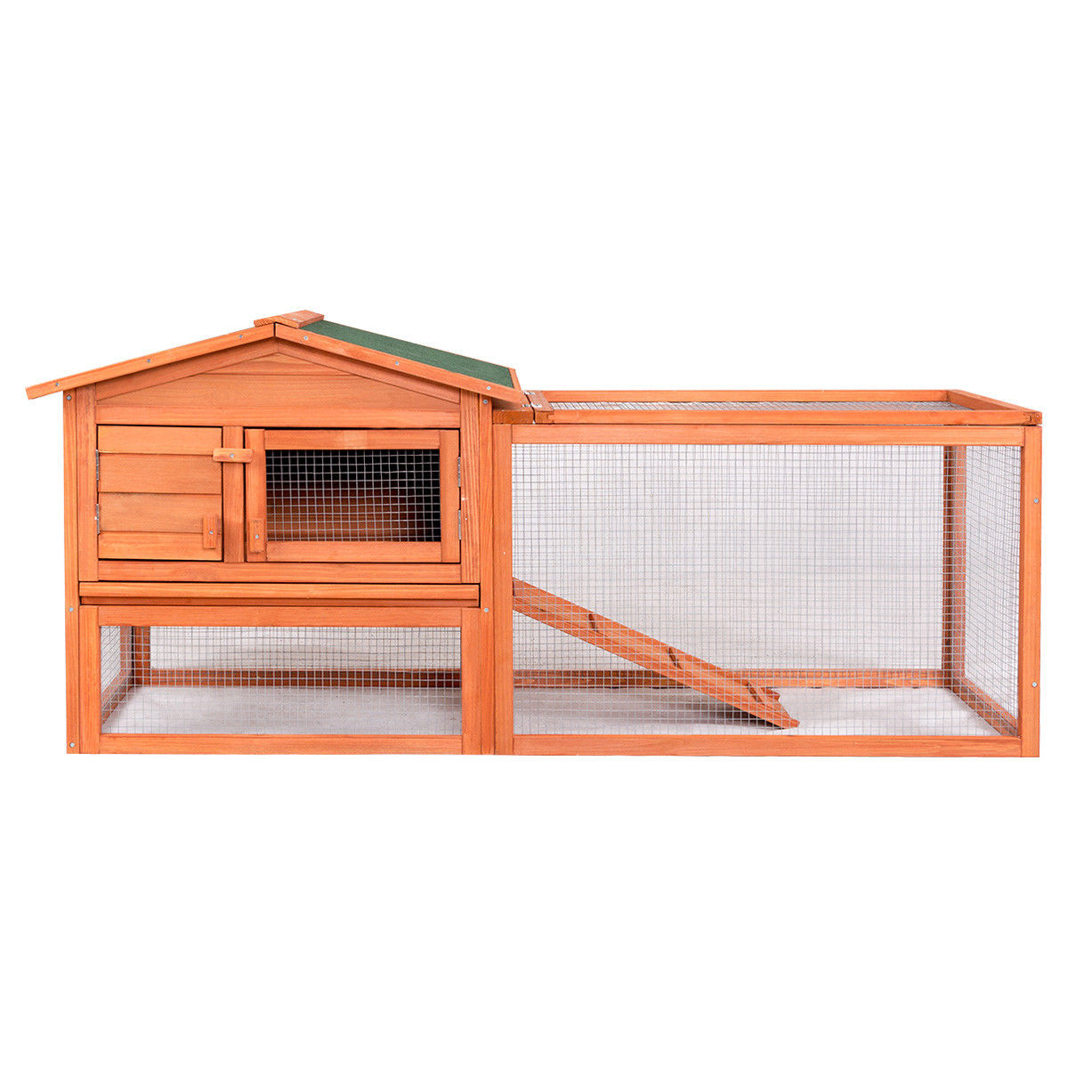 Gymax Two Story Pet Wooden House Rabbit Hutch Bunny Chicken Coop with Tray Run Outdoor by Gymax