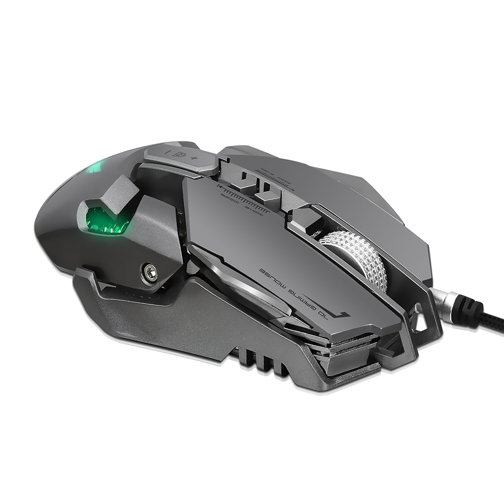 Mechanical Gaming Mouse Professional USB Wired Game Mouse Ergonomic 4000 DPI Wired Mouse with 7 Programmable Buttons and LED Backlight, Suitable for PC and Computer, Gray