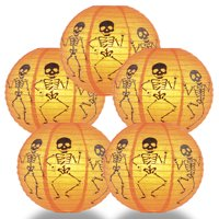 "PaperLanternStore.com (5-PACK) 12"" Skeleton Halloween Paper Lantern Hanging Party Decoration"