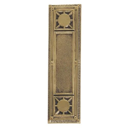 Brass Finish Kick Plates - BRASS Accents A04-P7200-610 Nantucket 3-.75 in. x 13-.87 in. Push Plate Highlighted Brass