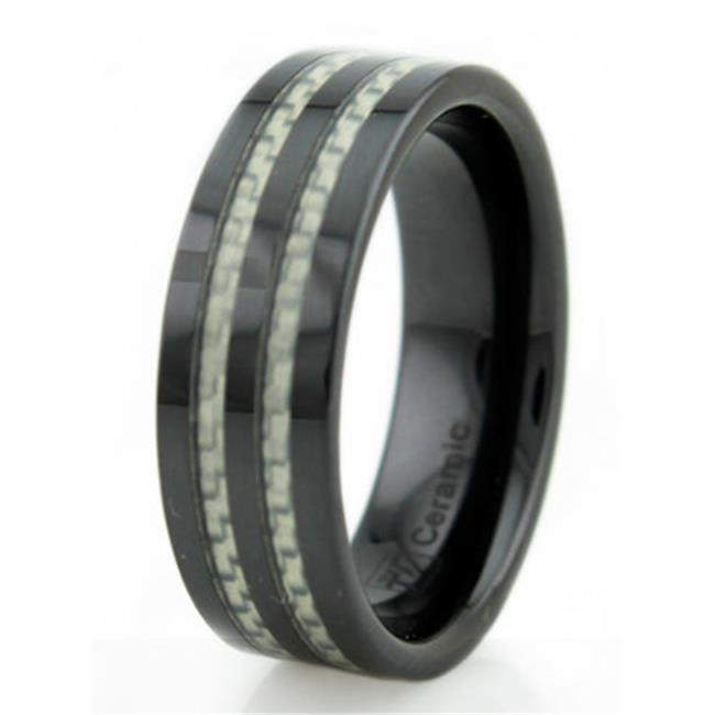 EWC R40054-115 Black Ceramic Mens Ring with White Carbon Fiber Inlay - Size 11. 5