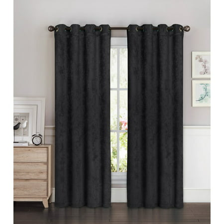 Faux Suede Room Darkening Extra Wide 108 X 84 In. Grommet Curtain Panel Pair ()