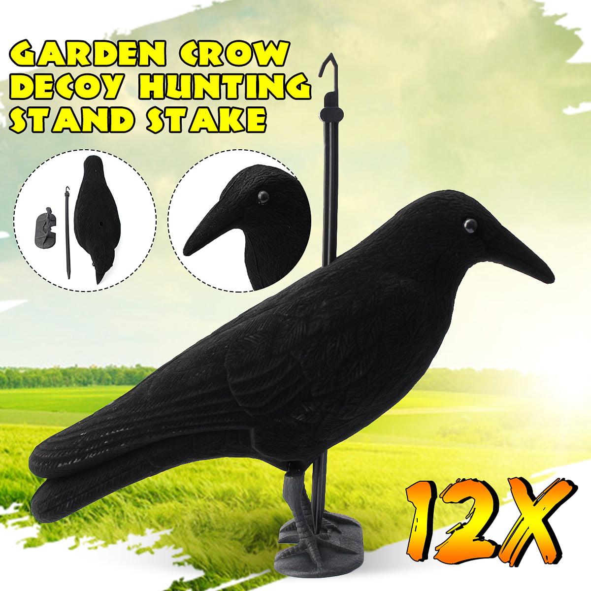 Garden Flocked Hard Plastic Flambeau Black Crow Decoy Hunting Stand Stake Brid