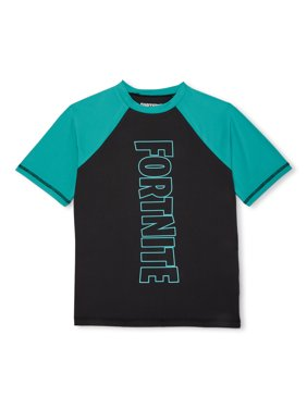 Fortnite Boys UPF 50+ Short Sleeve Rash Guard Swim Shirt, Sizes 8-16