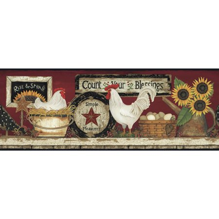 York Wallcoverings Hen and Rooster Pre-Pasted Border
