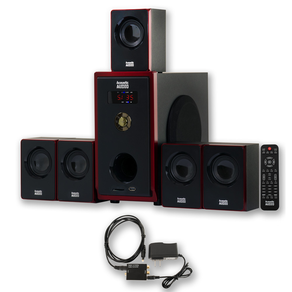 Acoustic Audio AA5103 Home Theater 5.1 Speaker System with Optical Input Surround Sound
