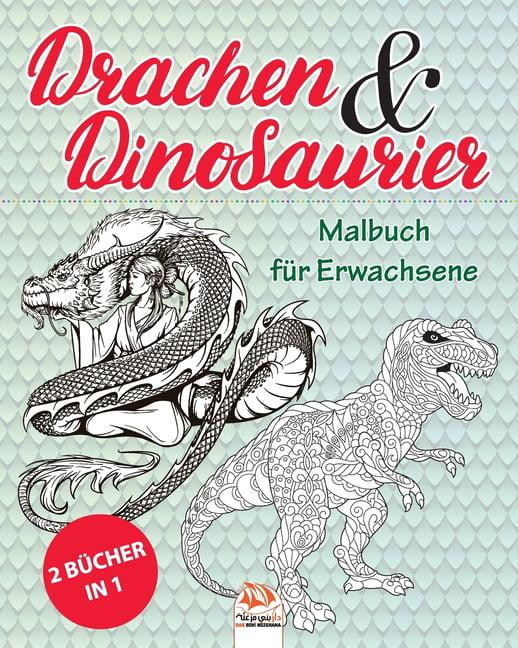 drachen  dinosaurier  2 bücher in 1  malbuch für