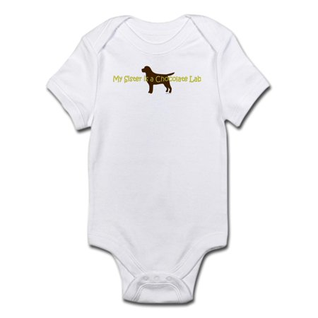 Infant Baby Chocolate (CafePress - My Sister Is A Chocolate Lab Infant Bodysuit - Baby Light Bodysuit )