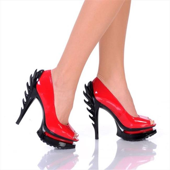 Highest Heel FLAME-21-RPAT-7 5 in. Flame Heel Pump with Open Toe On Tractor Outsole in Red Patent PU - Size 7 - image 1 de 1