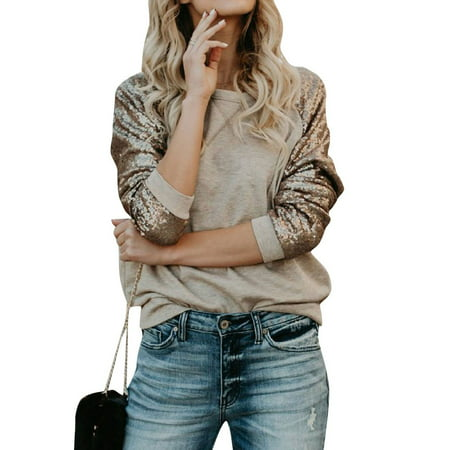 STARVNC Women Long Sleeve Sequin Splice Spring Casual Top Shirt