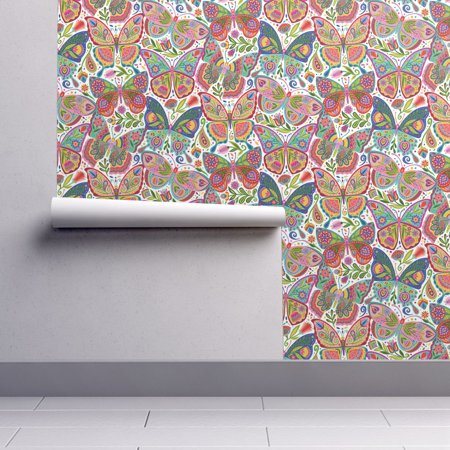 Removable Water-Activated Wallpaper Butterfly Tattoo Folk Art Pink Blue Folk (Tattoo Wall Paper)
