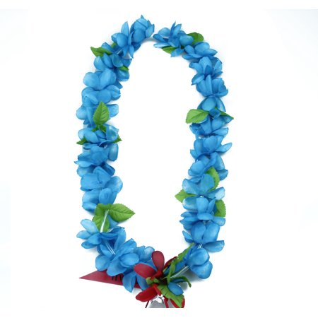 Hawaii Luau Party Artificial Fabric Princess Plumeria Lei Blue 12 - Artificial Leis