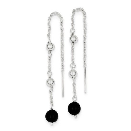 Sterling Silver 2.1IN Long Black Onyx Threader Dangle Earrings