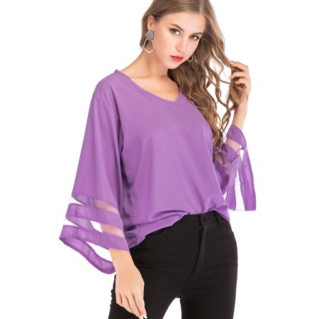 Juniors\' Plus Size Tops Blouses for Women Shirts Casual V Neck 3/4 Bell  Sleeve Loose Blouse Top Fit T-Shirt Autumn