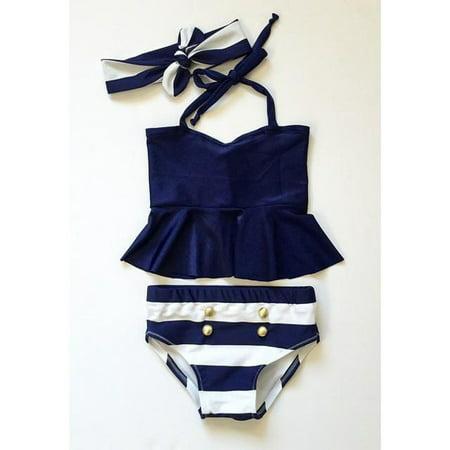 Kids Baby Girls Bikini Suit Navy Swimsuit Swimwear Bathing Swimming Clothes