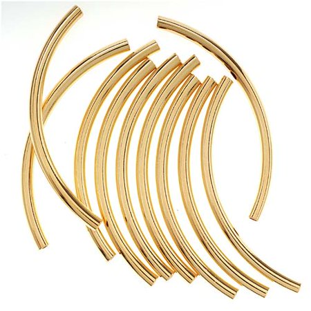 22K Gold Plated Long Curved Noodle Tube Beads 3mm x 50mm - 50mm Bead