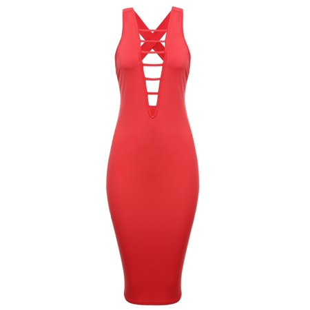 Women's Sexy Sleeveless Lace Up Hollow Out Bodycon Club Midi Dress