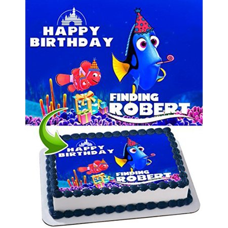 Finding Nemo Edible Cake Topper Personalized Birthday 1/4 Sheet Decoration Custom Sheet Birthday Frosting Transfer Fondant Image (Nemo Cake)