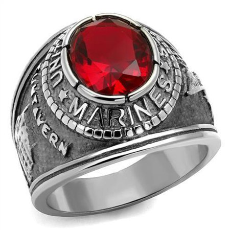 Mens Usmc Marine Corps Stainless Steel  Red Siam Cz Military Ring  Sizes 8 14