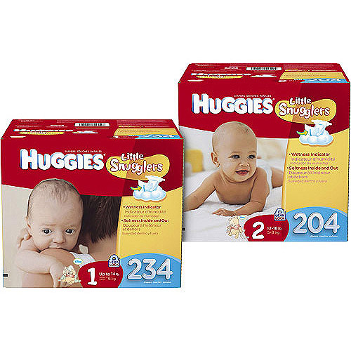 Huggies Little Snugglers Diapers, Economy Plus Pack (Choose Your Size)