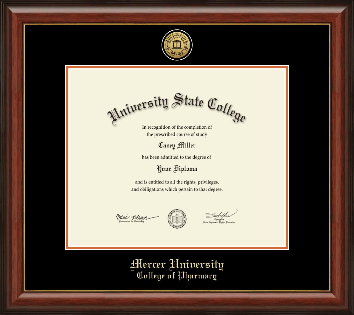 Mercer University College Of Pharmacy Officially Licensed Gold Printed Medallion Diploma Frame Diploma Size 17 X 14 Walmart Com Walmart Com