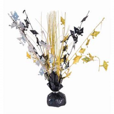 Graduation Cap Silver Gold and Black Table Centerpiece 15 Inch Party Decoration