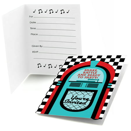 50's Sock Hop - Fill In 1950s Rock N Roll Party Invitations (8 count) (Rock And Roll Birthday Invitations)
