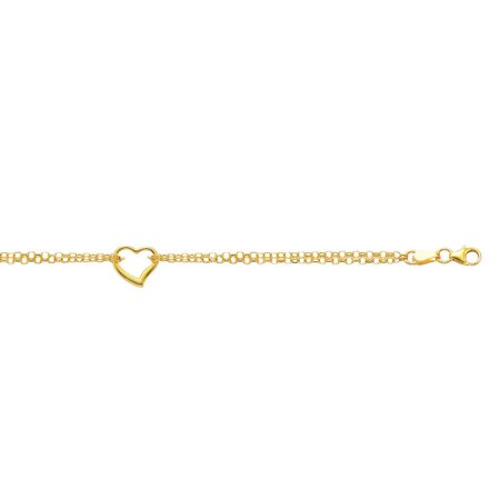 10k Yellow Gold 10 Inch Shiny Double Rolo Chain Anklet Station Open Heart With Lobster -