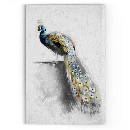 Wexford Home 'Golden Blue Peacock Feather II' Drawing Print on Wrapped Canvas