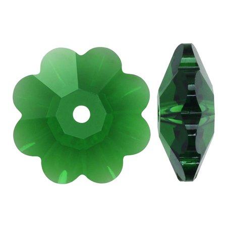 Swarovski Crystal, #3700 Flower Margarita Beads 14mm, 4 Pieces, Dark Moss Green 3700 Flower Beads Swarovski Crystal