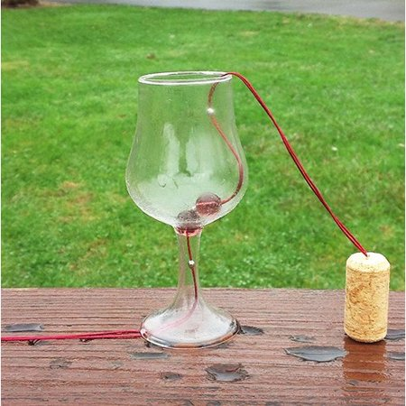 Goodman and Wife Hand-Blown Wine Glass Bell Wind Chime ()