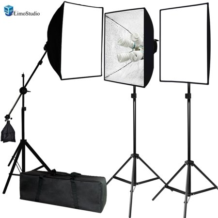 Head Studio Kit (Loadstone Studio Photo Video Studio 2400 Watt Softbox Continuous Light Kit with Overhead Head Light Boom Kit, Energy Saving Bulb, Light Stand Tripod, Sand Weight Bag, Photography Studio, WMLS4386 )
