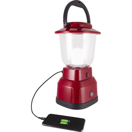 GE Enbrighten Outdoor LED Lantern, USB Port, Battery Operated, Red, 29923 - Battery Operated Lantern