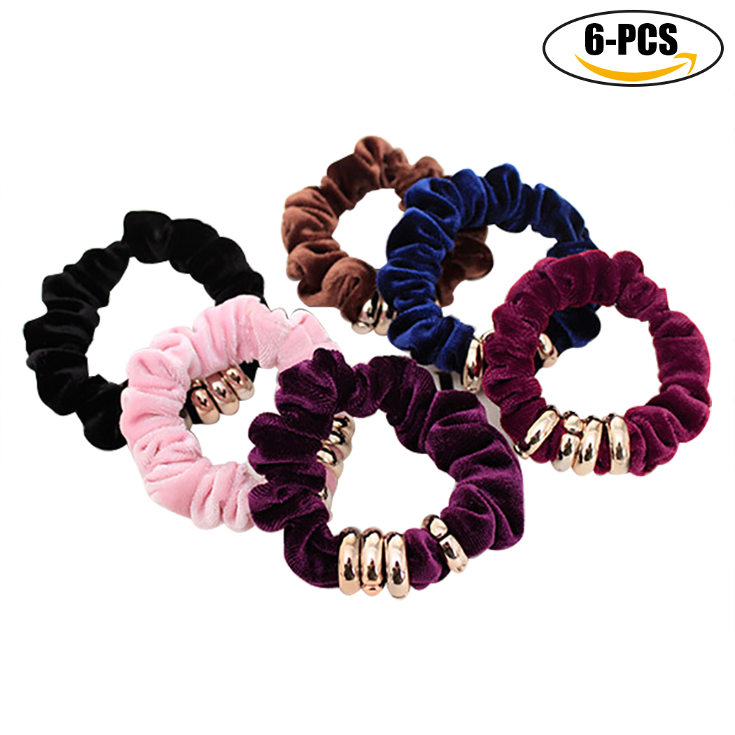 6PCS Hair Scrunchies 4 Rings No Damage Traceless Elastic Hair Ties Ponytail Holder for Girls Women
