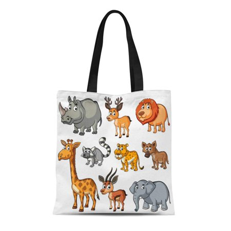 JSDART Canvas Tote Bag Cute Different Kinds of Wild Elephant Giraffe Cheetah Durable Reusable Shopping Shoulder Grocery Bag - image 1 of 1