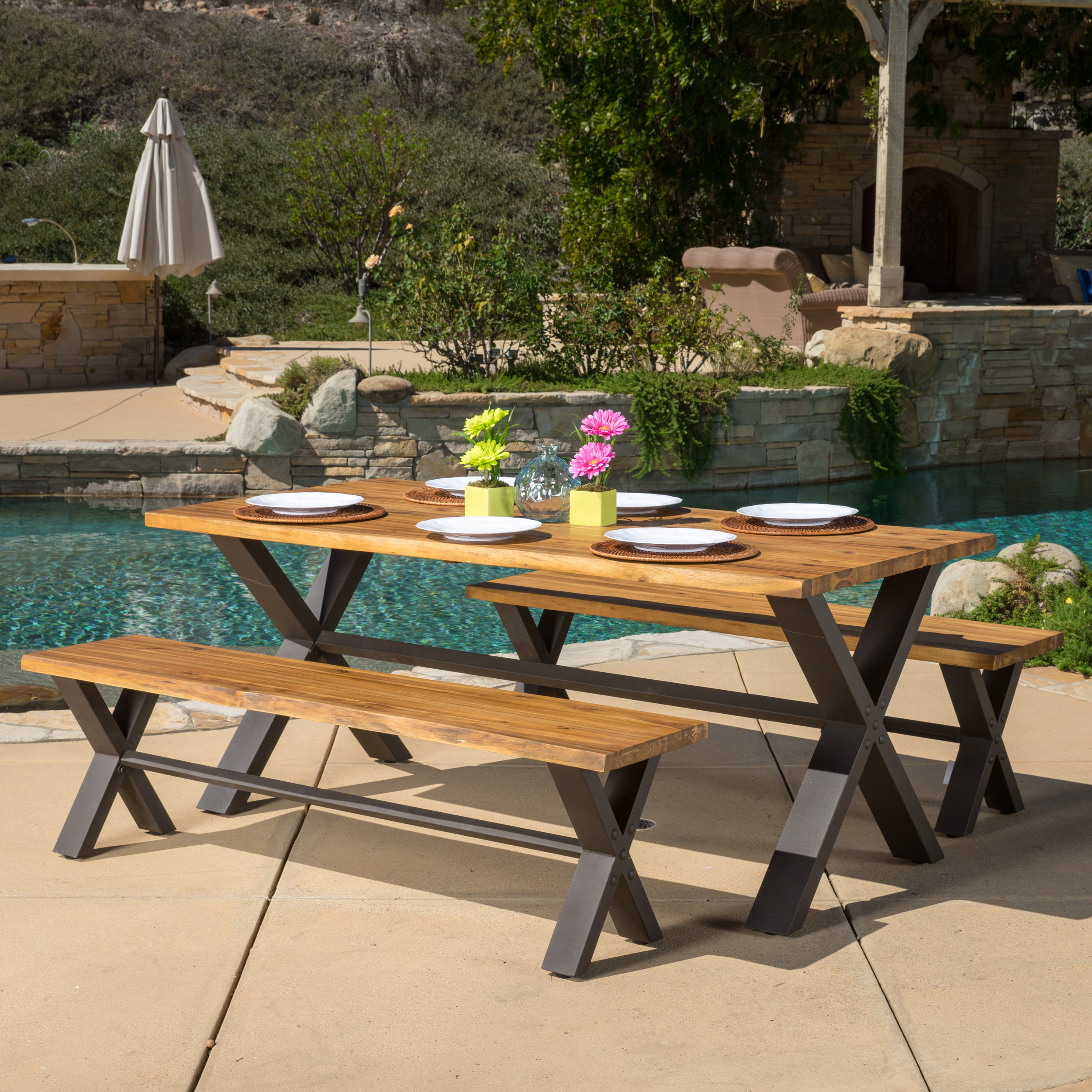 Myers 3 Piece Outdoor Acacia Wood Picnic Dining Set, Teak Finish with Rustic Metal