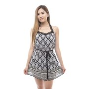 Women's Sleeveless Printed T Back Dress Small Size (S) - Black