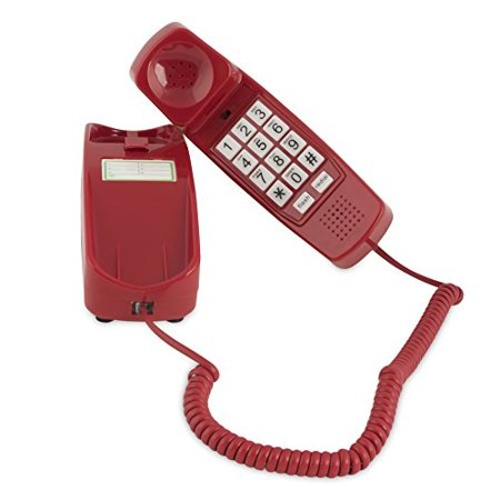 Style Corded Telephone - trimline corded phone - phones for seniors - phone for hearing impaired - crimson red - retro novelty telephone - an improved version of the princess phones in 1965 - style big button