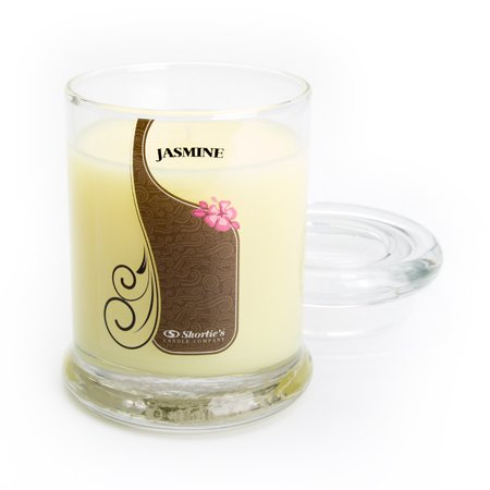 Pure Jasmine Candle - Small Yellow 6.5 Oz. Highly Scented Jar Candle - Made With Essential & Natural Oils - Flower & Floral Collection