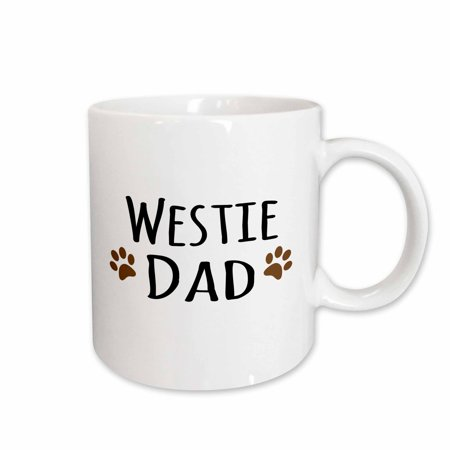 3dRose Westie Dog Dad - West Highland White Terrier - Doggie by breed - doggy lover owner brown paw prints, Ceramic Mug, 11-ounce
