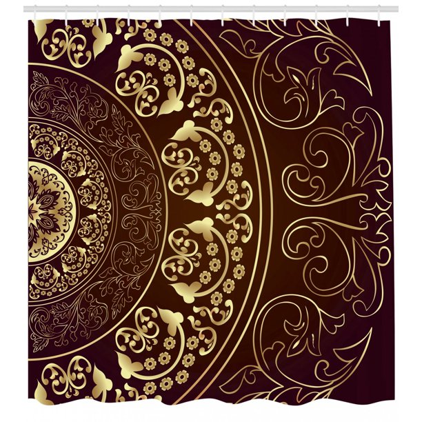 Mandala Shower Curtain Vintage Ethnic Spiritual Cosmos Pattern With Swirled Floral Leaves Artwork Fabric Bathroom Set With Hooks Burgundy Yellow By Ambesonne Walmart Com Walmart Com