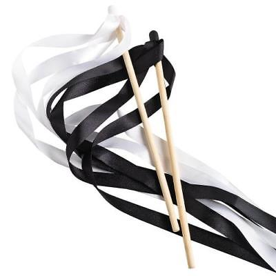 IN-14/1602 Black & White Ribbon Wands 24 Piece(s)