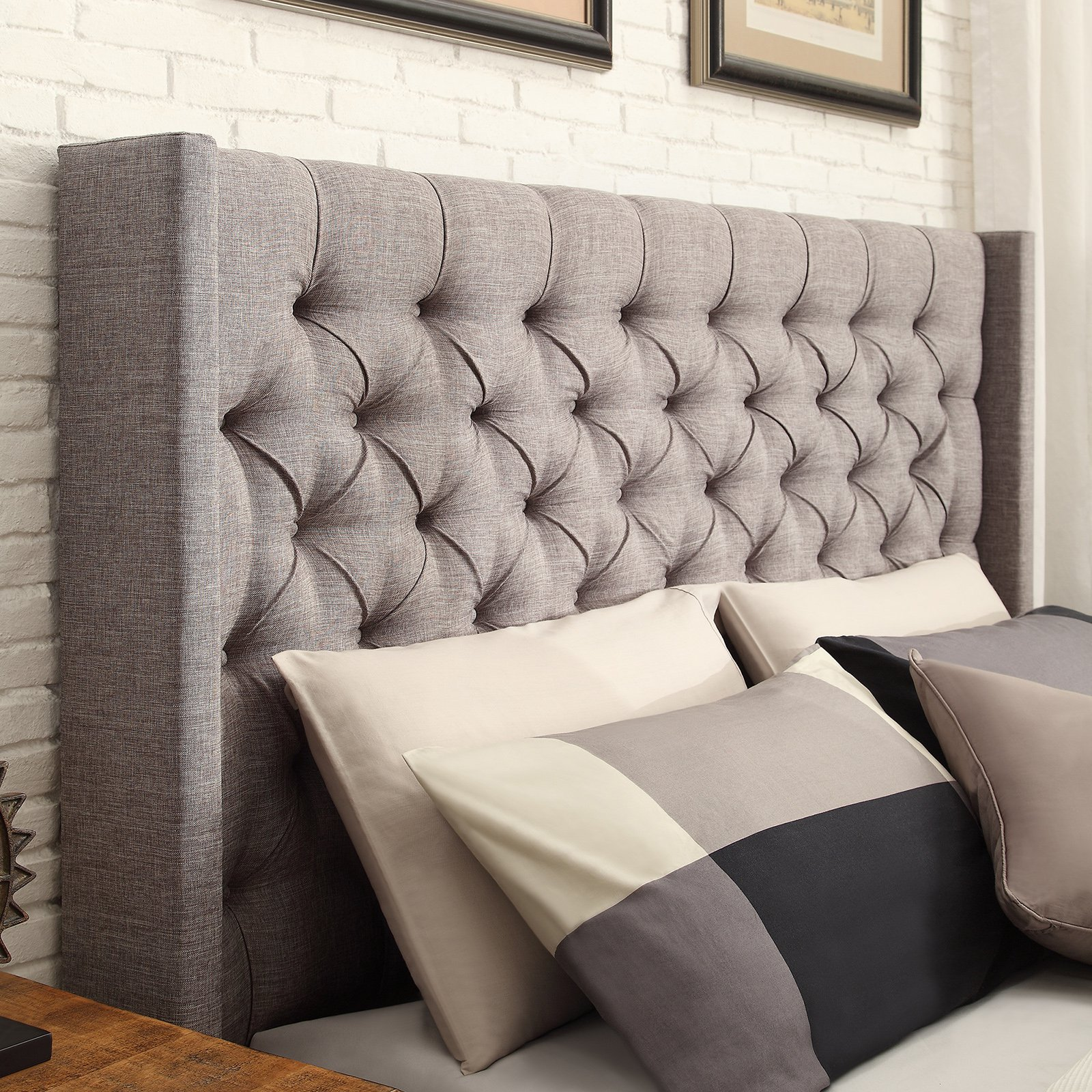 weston home yarmouth wingback upholstered low profile bed