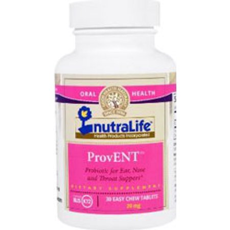 NutraLife Kosher ProvENT Probiotic for Ear, Nose and Throat Support Dairy Cherry Flavor - 30 Chewable Tablets ()