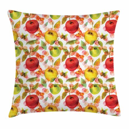 Apple Throw Pillow Cushion Cover, Watercolor Arrangement of Fruits with Leaves and Butterflies on Dotted Background, Decorative Square Accent Pillow Case, 18 X 18 Inches, Multicolor, by Ambesonne (Square Butterfly Leaf)