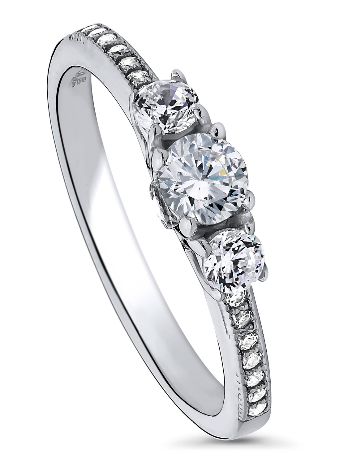 BERRICLE Rhodium Plated Sterling Silver Cubic Zirconia CZ 3-Stone Promise Engagement Ring Size 10.5